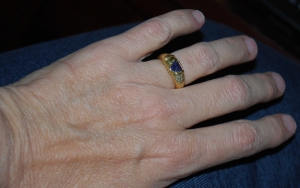 wedding ring with iolite gem