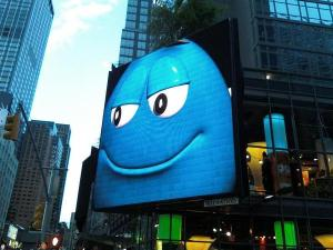 Huge m&m on times square screen