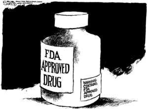 cartoon showing FDA warning label on pill bottle