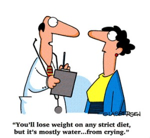 cartoon of woman at diet doctor