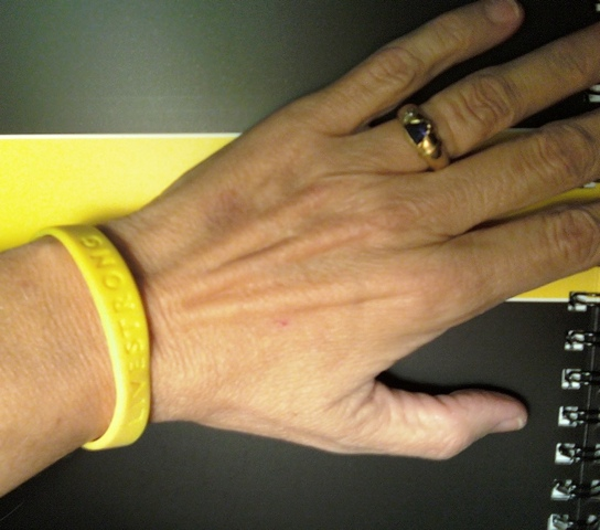Hand with Livestrong wristband