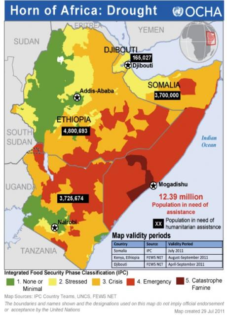 Horn of Africa drought map